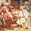 Jesus washes the feet of the Disciples